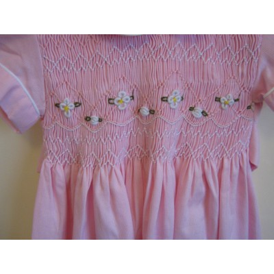 Girls Hand Smocked Dress - Pink - 1 year old