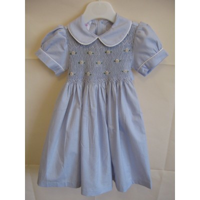 Girls Hand Smocked Dress - Light  Blue- 1 year old
