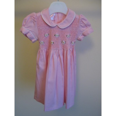 Girls Hand Smocked Dress -  Pale Pink - 1 year old