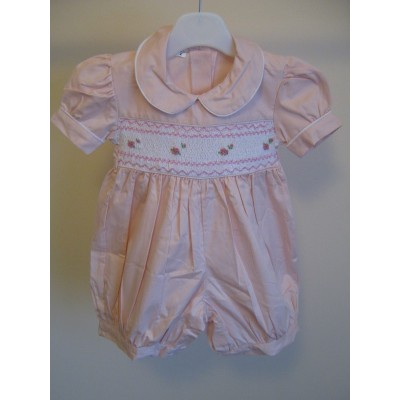 Toddlers Hand Smocked Romper Suit - Pale Pink