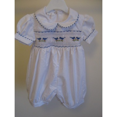 Toddlers Hand Smocked Romper Suit - Birds