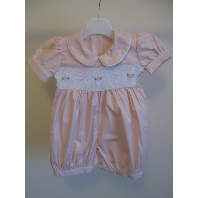 Toddlers Hand Smocked Romper Suit - Baby Pink