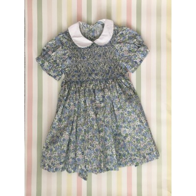 "Hand Smocked ""Pisa"" dress - 2 yr old - Pale blue flowers"