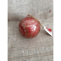 Red & Gold Glitter Swirl Christmas Bauble