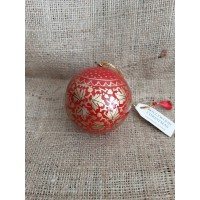 Red & Gold Chinar Leaf Christmas Bauble