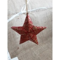 Red & Gold Glitter Swirl Hanging Star