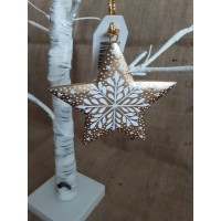 Gold Snowflake Hanging Star