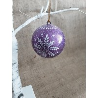 Purple Glitter Snowflake Bauble