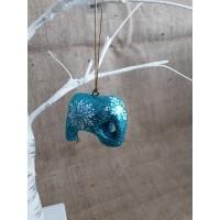 Turquoise Glitter Snowflake Hanging Elephant