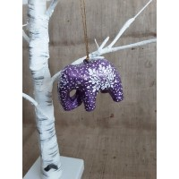 Purple Glitter Hanging Elephant
