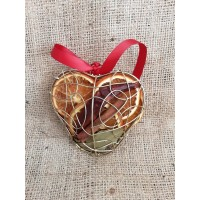 Christmas Hanging Mesh Heart - Gold