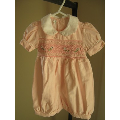 Hand Smocked Romper Suit - Pink - 1 yr old