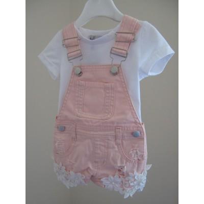 Pink Denim Dungeree & T-Shirt set