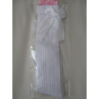 Babies White Knee Length Ribbed Socks with a Ribbon Bow
