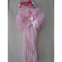 Pink Ribbed Long Sock with Lace & Bow