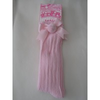 Babies Pink Ribbed Knee High Socks with Pom Pom & Bow