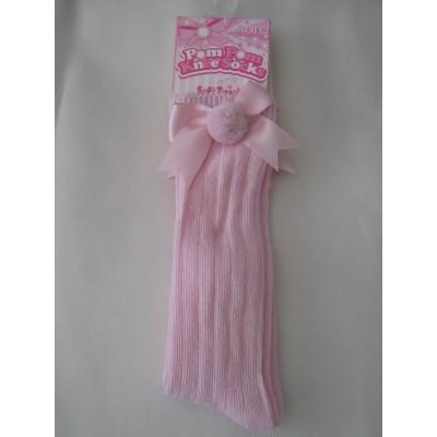 Babies Pink Ribbed Knee High Socks with Pom Pom & Bow