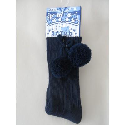 Babies Navy Ribbed Knee High Socks with Pom Pom