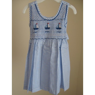 Hand Smocked Sleeveless Striped Dress with Sail Boats - 6 mths & 1 yrs olds